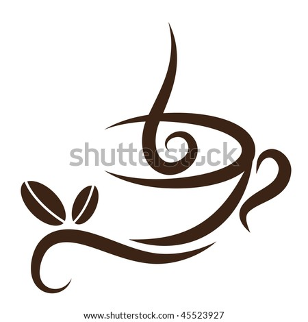 Vector stylized cup of coffee icon with beans.