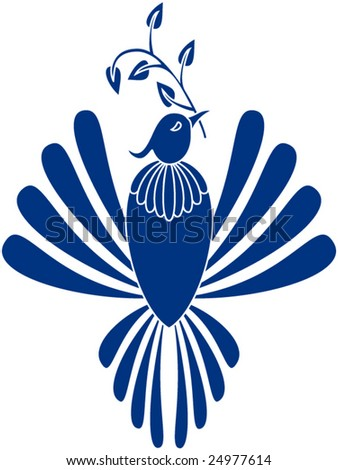 Vector stylized dove of peace with outstretched wings, holding an olive branch in its beak
