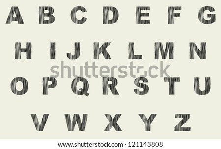 Vector stylized font as the shaded ink letters