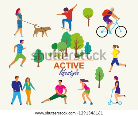 Vector stylized illustration of active young people. Healthy lifestyle. Roller skates, running, bicycle, walk, scooter, skateboard.