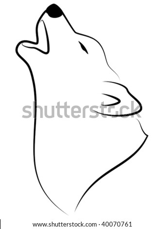 Vector stylized illustration of wolf howling