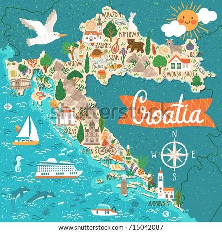 vector stylized map of croatia