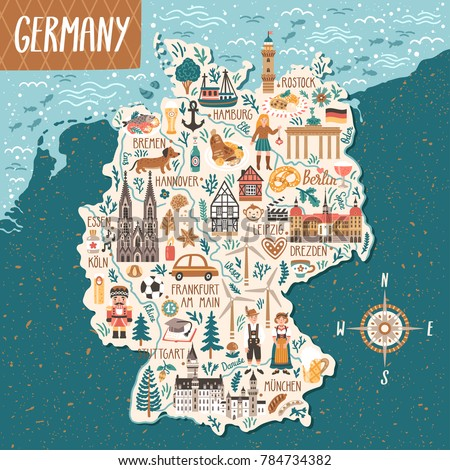 vector stylized map of germany. ...