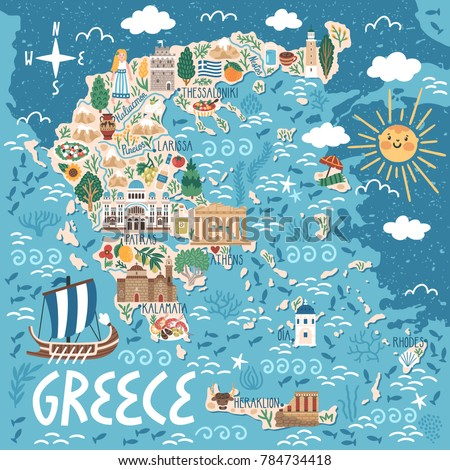 Vector stylized map of Greece. Travel illustration with greek landmarks, building, plants and traditional food.