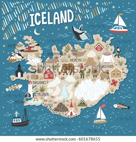 vector stylized map of iceland