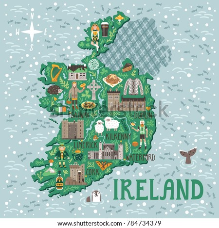vector stylized map of ireland