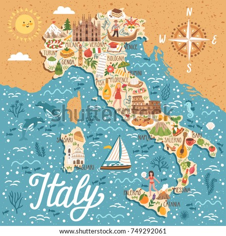 vector stylized map of italy....