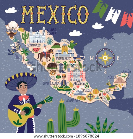 Vector stylized map of Mexico. Travel illustration with Mexican landmarks, people, food, and animals. Illustrated map of Mexico.