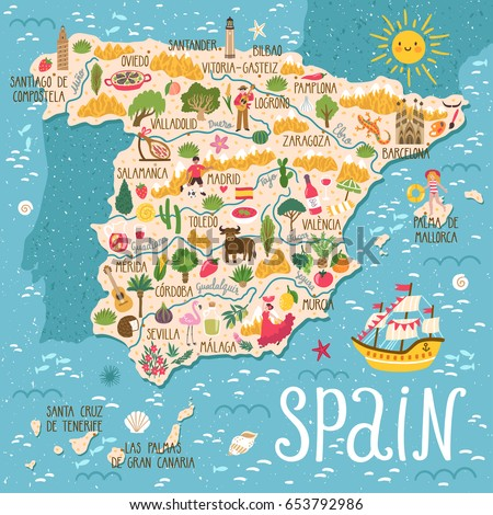 vector stylized map of spain