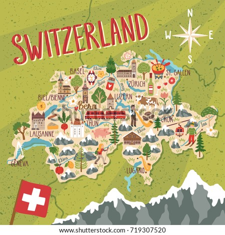Vector stylized map of Switzerland. Travel illustration with swiss landmarks, nature, people, food and symbols.