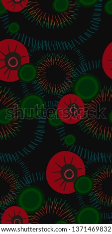 vector stylized modern seamless floral pattern #1371469832