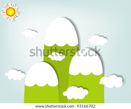 vector stylized mountain landscape - stock vector