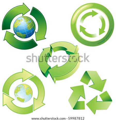 Vector stylized recycling icons - stock vector