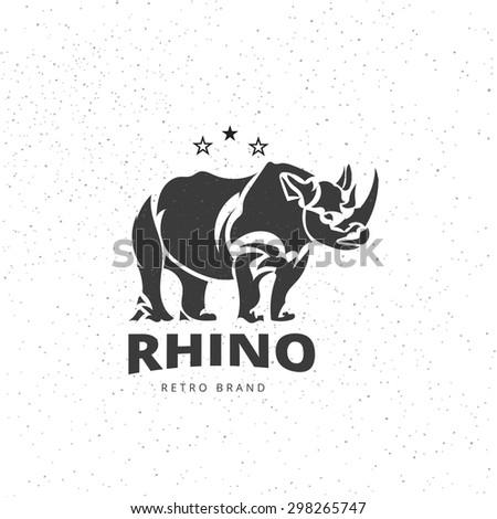 vector stylized rhino in