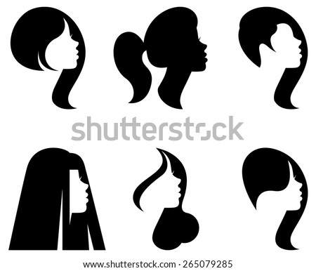 Silhouette Of Girls Hairstyles Download Free Vector Art Stock - Girl hairstyle vector free download