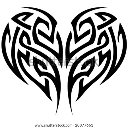 stock vector : VECTOR Stylized tattoo tribal heart.