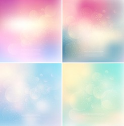 Vector subtle blurry glowing bokeh backgrounds with glitter. Eps10 backdrops collection