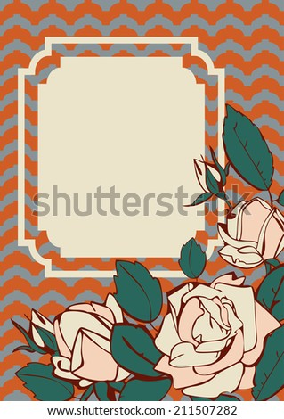 Vector subtle roses frame. Beautiful rose card design with frame for text. Wave background