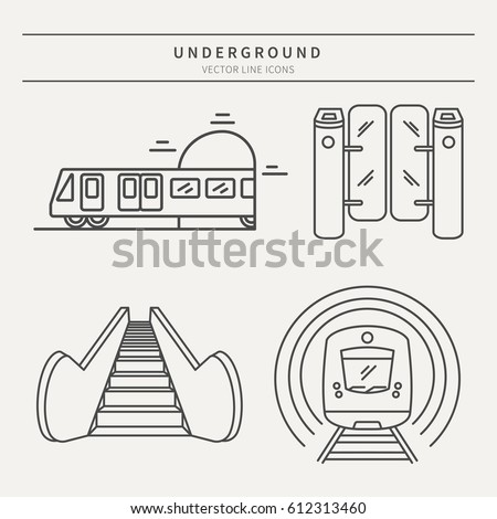 Stock Photo Vector subway icons and badge. Graphic design elements in outline style for packaging, apps, website, advertising, poster and brochure