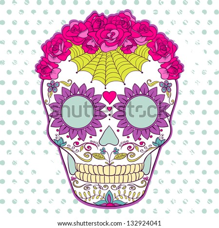Vector Sugar Skull can be used for T-short, bag and other clothes. Day of The Dead colorful Skull with floral ornament - stock vector