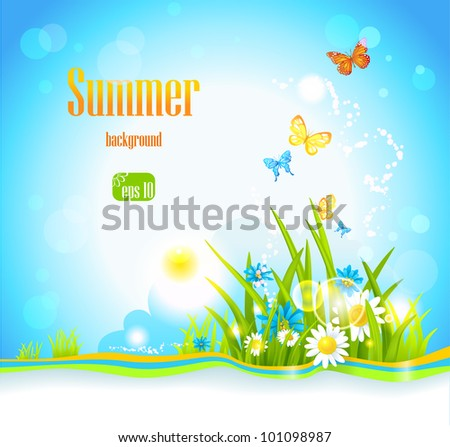 Vector summer background  with flowers, sunlight and butterflies. Space for text.