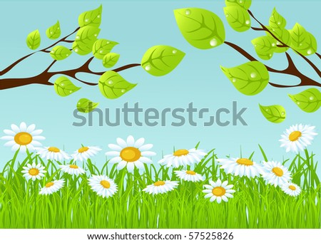 vector summer background with tree.