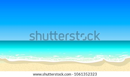 Vector summer beach horizontal background. Deep blue sea, sand coast, tourism, travel, vacation, salt water, ocean bay, white foam, bright colors, good weather, summy day, beautiful landscape, sky