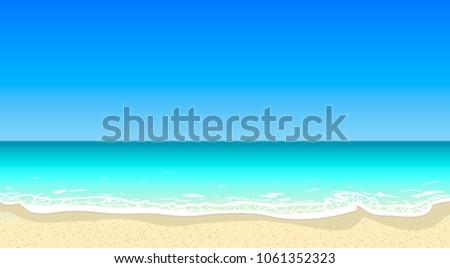 Vector summer beach horizontal background. Deep blue sea, sand coast, tourism, travel, vacation, salt water, ocean bay, white foam, bright colors, good weather, summy day, beautiful landscape, sky