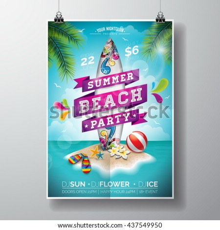 Vector Summer Beach Party Flyer Design with surf board and paradise island on ocean landscape background. Typographic design on banner. Eps10 illustration.