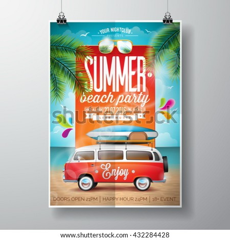 Vector Summer Beach Party Flyer Design with travel van and surf board on ocean landscape background. Eps10 illustration.