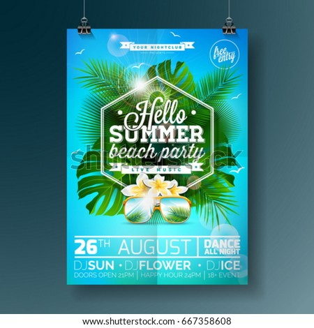 vector summer beach party flyer
