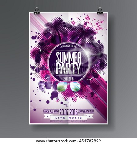 colorful flyer template or banner design for night dance party