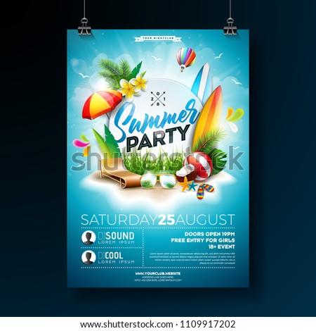 vector summer beach party flyer