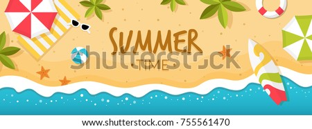 vector summer beach with beach