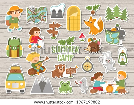 Vector summer camp stickers set. Camping, hiking, fishing equipment patches collection with cute kids and forest animals on wooden background. Outdoor nature tourism patches pack