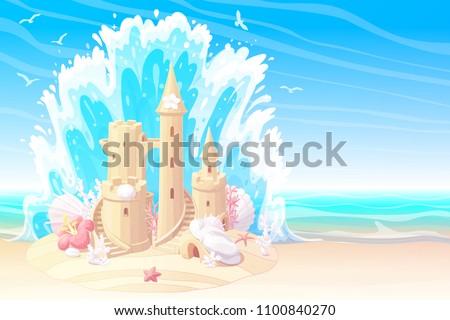 vector summer cartoon seascape