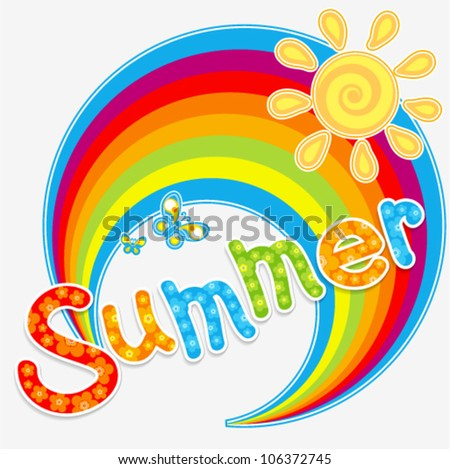 Vector summer design with rainbow, sun and butterflies (text with floral decoration)