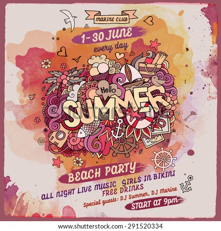 vector summer doodles