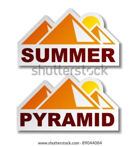 vector summer egypt pyramid stickers - stock vector