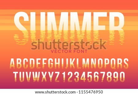 vector summer font made of sun