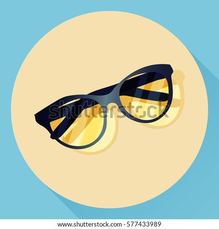 Vector summer glasses icon. Flat lay design. Isolated object with a shadow