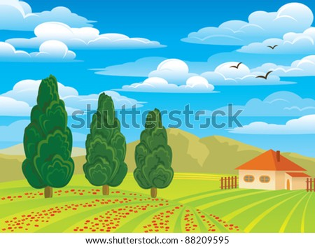 Vector summer green landscape with trees, house and red flowers on a blue cloudy sky background