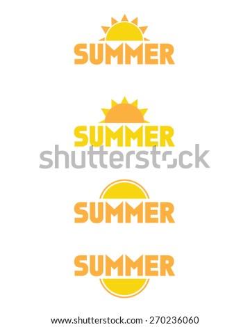 vector summer icon and logo set