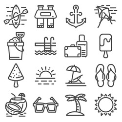 Vector Summer Icons Set Outline Holiday on White Background