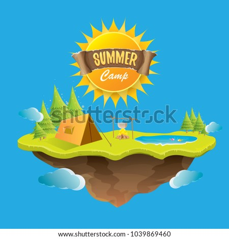Vector summer kids camp concept illustration with green valley, trees, summer sun, clouds, camp fire, camping tent and blue lake. Summer holiday or camp label design template
