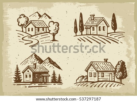 vector summer landscape cottage
