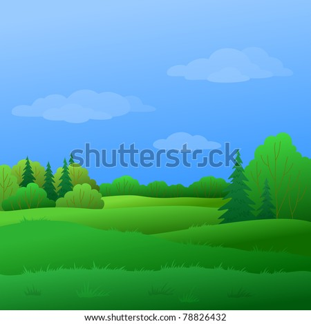 Vector, summer landscape: forest with green trees and the blue sky with white clouds