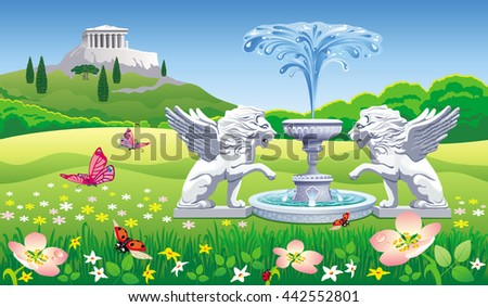 vector summer landscape with a