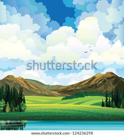 vector summer landscape with