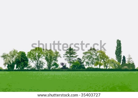 Vector summer landscape with green trees - Shutterstock ID 35403727